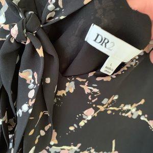 DR2 Tops - DR2 Tie Front Bohemian Pheasant Top